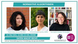 Bilder der Vortragenden beim Talk Normative Algorithmen